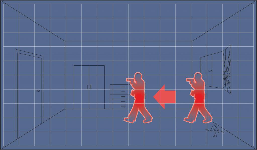 """Sposób w jaki """"widzi"""" i wychwytuje ruch obiektów standardowa czujka ruchu."""